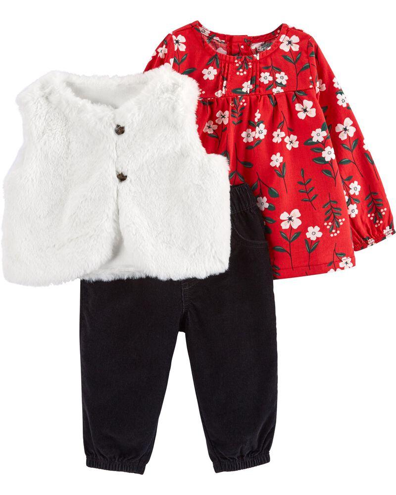 3-Piece Faux Fur Vest Set, , hi-res