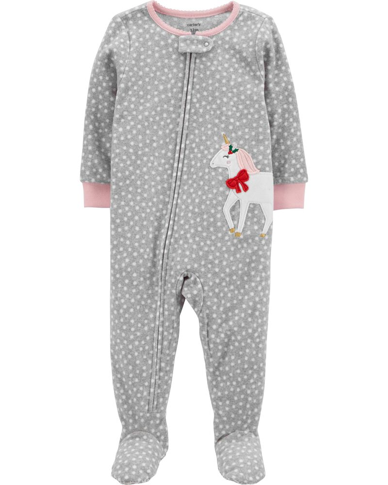 1-Piece Unicorn Fleece Footie PJs, , hi-res