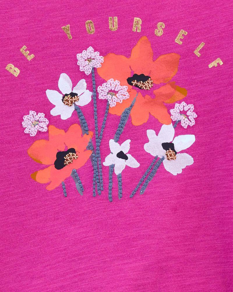 Tie-Hem Sparkle Flower Top, , hi-res