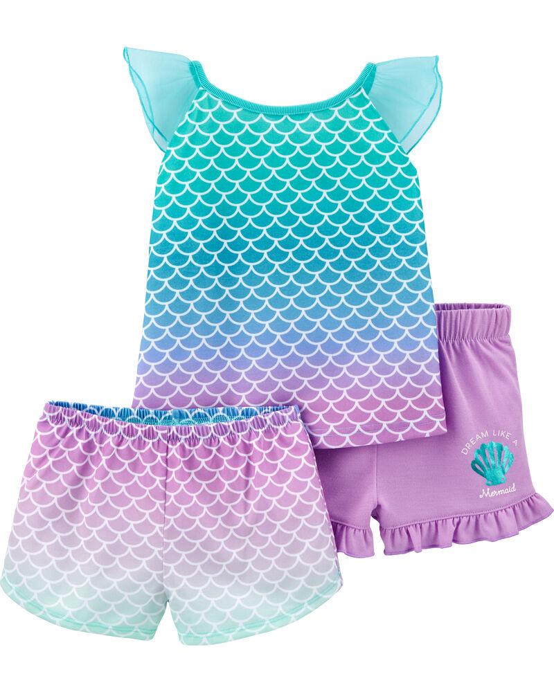 Pyjama 3 pièces en polyester à motif de sirène, , hi-res