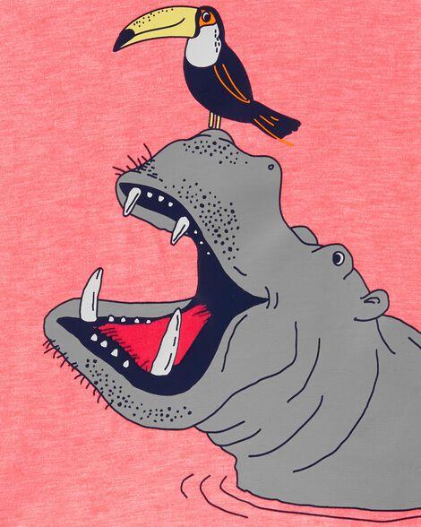 T-shirt en jersey hippopotame et toucan