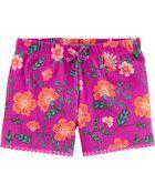 Floral Crinkle Jersey Shorts, , hi-res