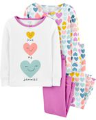 4-Piece Heart Snug Fit Cotton PJs, , hi-res