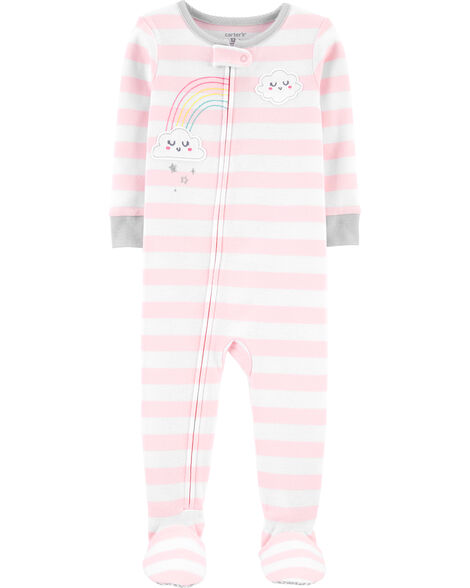 1-Piece Striped Cloud Snug Fit Cotton Footie PJs