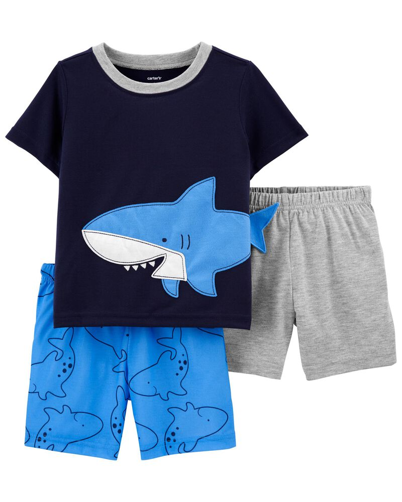 Pyjama 3 pièces de coupe ample à requin, , hi-res