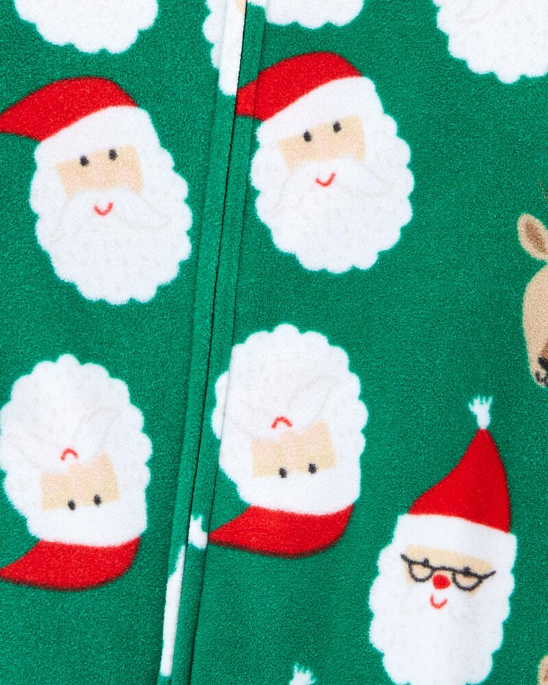 Pyjama 1 pièce en molleton sans pieds motif des Fêtes hockey, , hi-res