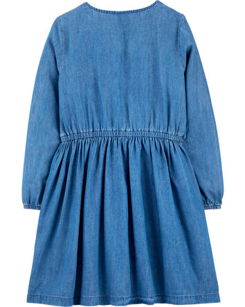 Robe en denim fleuri brodé