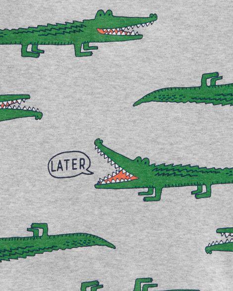 Pyjama 4 pièces en coton ajusté à motif d'alligator