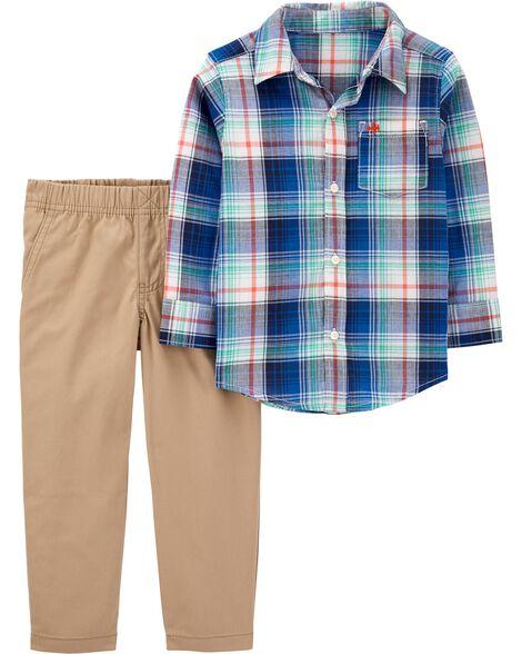 Ensemble 2 pièces chemise boutonnée à motif écossais et pantalon en toile