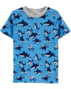 T-shirt en jersey à imprimé requin, , hi-res
