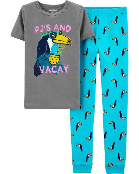 Pyjama 1 pièce en coton ajusté motif toucan