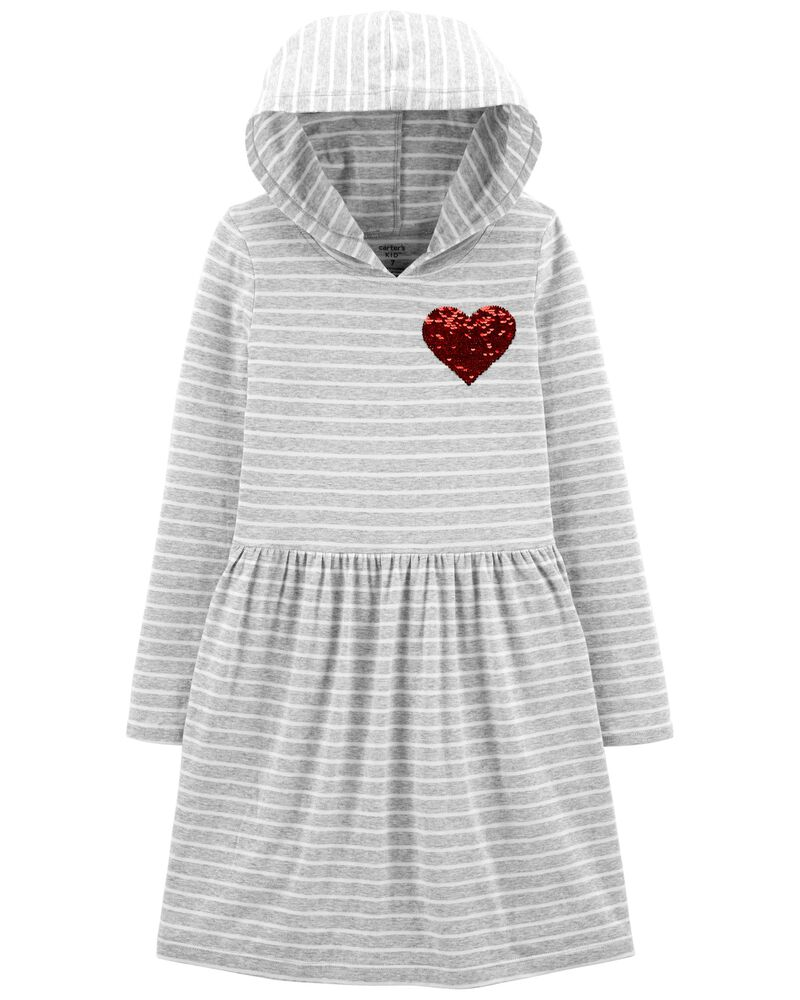 Heart Hooded Jersey Dress, , hi-res