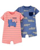 2-Pack Cotton Rompers, , hi-res