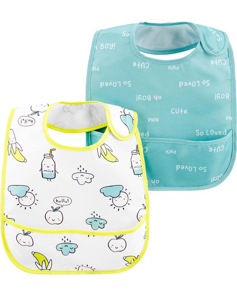 2-Pack Slogans & Icons Water Resistant Bibs, , hi-res