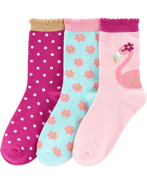3-Pack Flamingo Socks