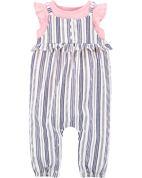 2-Piece Tee & Striped Jumpsuit Set