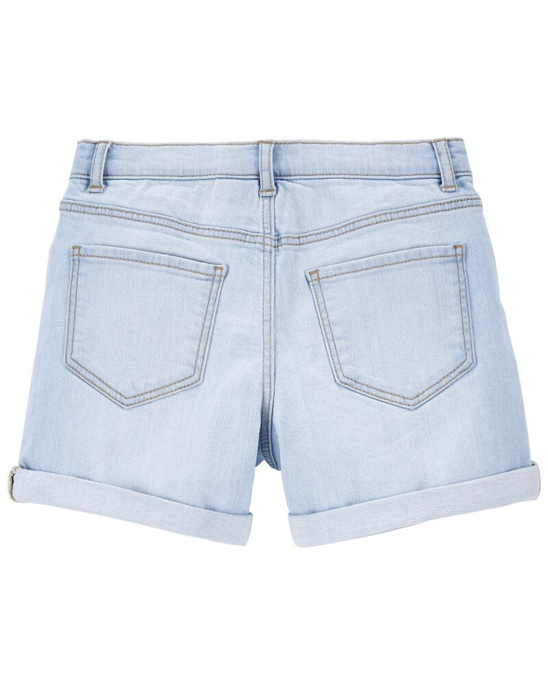 Short en denim extensible déchiré, , hi-res