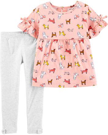 2-Piece Dog Jersey Top & Legging Se...