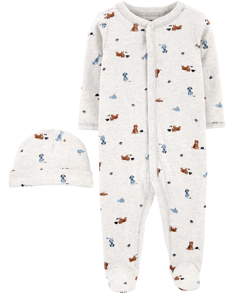 2-Piece Cap & Snap-Up Cotton Sleep & Play Set, , hi-res