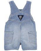 Knit Denim Shortalls in Hickory Rinse Wash, , hi-res