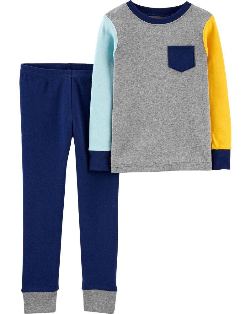 2-Piece Colourblock 100% Snug Fit Cotton PJs, , hi-res