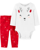 2-Piece Holiday Reindeer Bodysuit Pant Set, , hi-res
