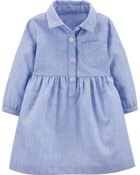 Chambray Striped Dress