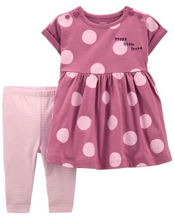 2-Piece Polka Dot Dress & Legging S...