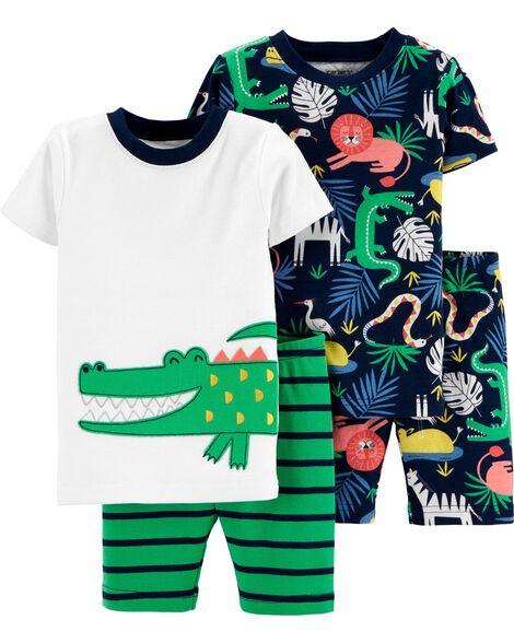 4-Piece Alligator Snug Fit Cotton PJs