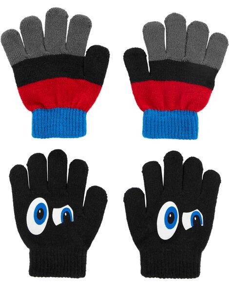 2 paires de gants Grands yeux à paume antidérapante