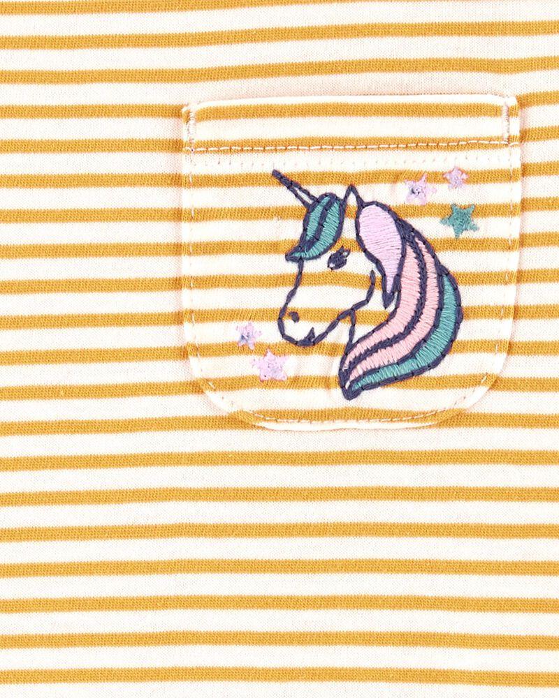 T-shirt rayé avec poche et licorne, , hi-res