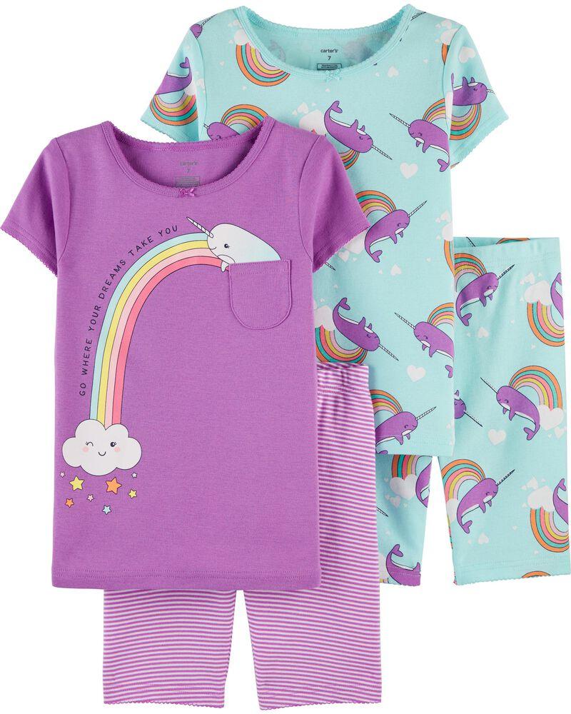 Pyjama 4 pièces en coton ajusté à motif narval, , hi-res