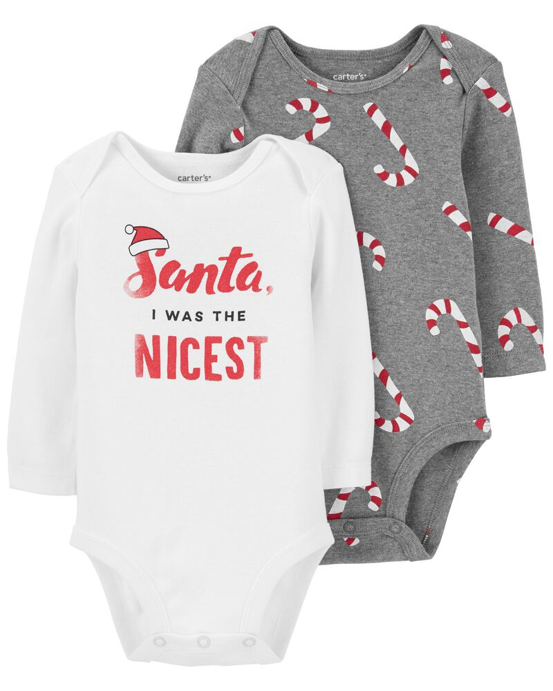 2-Pack Holiday Collectible Bodysuits, , hi-res