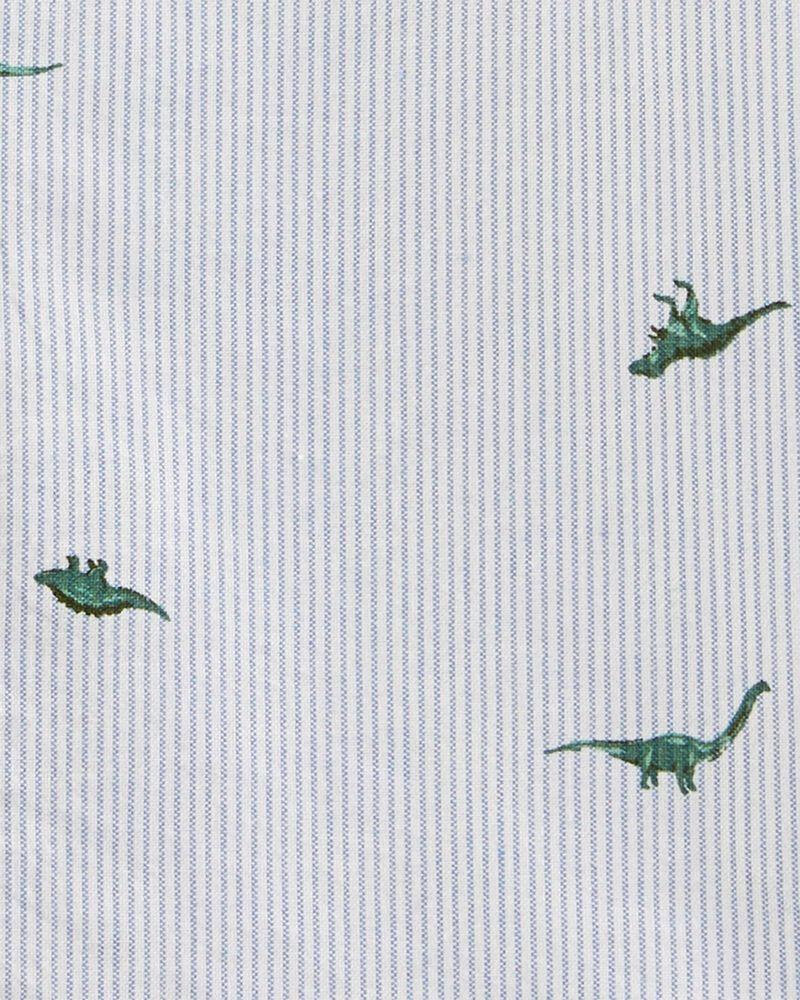 Chemise boutonnée rayée avec dinosaures, , hi-res