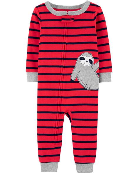 Pyjama 1 pièce sans pieds en coton ajusté à paresseux