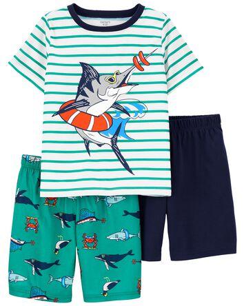 3-Piece Fish Loose Fit PJs