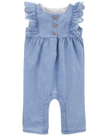 Ruffle Chambray Jumpsuit in Olympia...