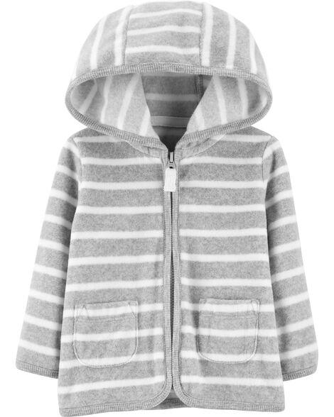 Striped Zip-Up Fleece Cardigan