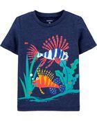 T-shirt en jersey chiné avec poisson, , hi-res