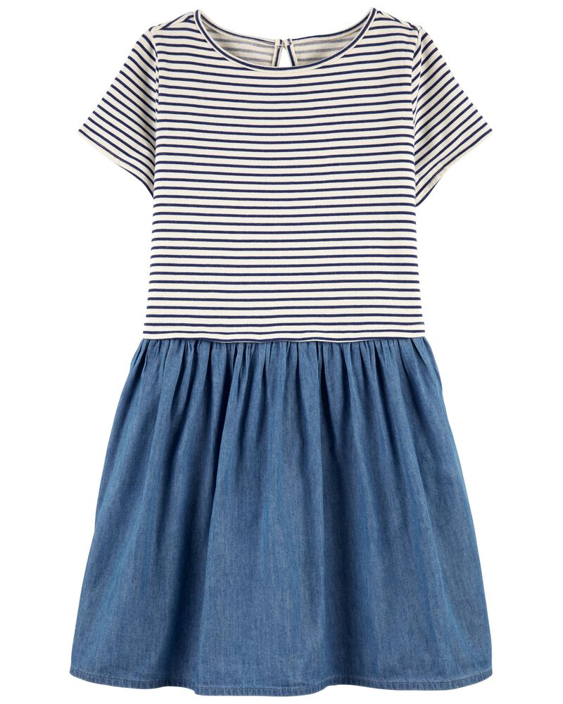 Stripe & Denim Dress, , hi-res