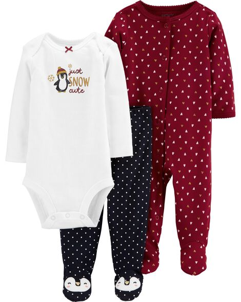 3-Piece Penguin Bodysuit & Footed Pant Set