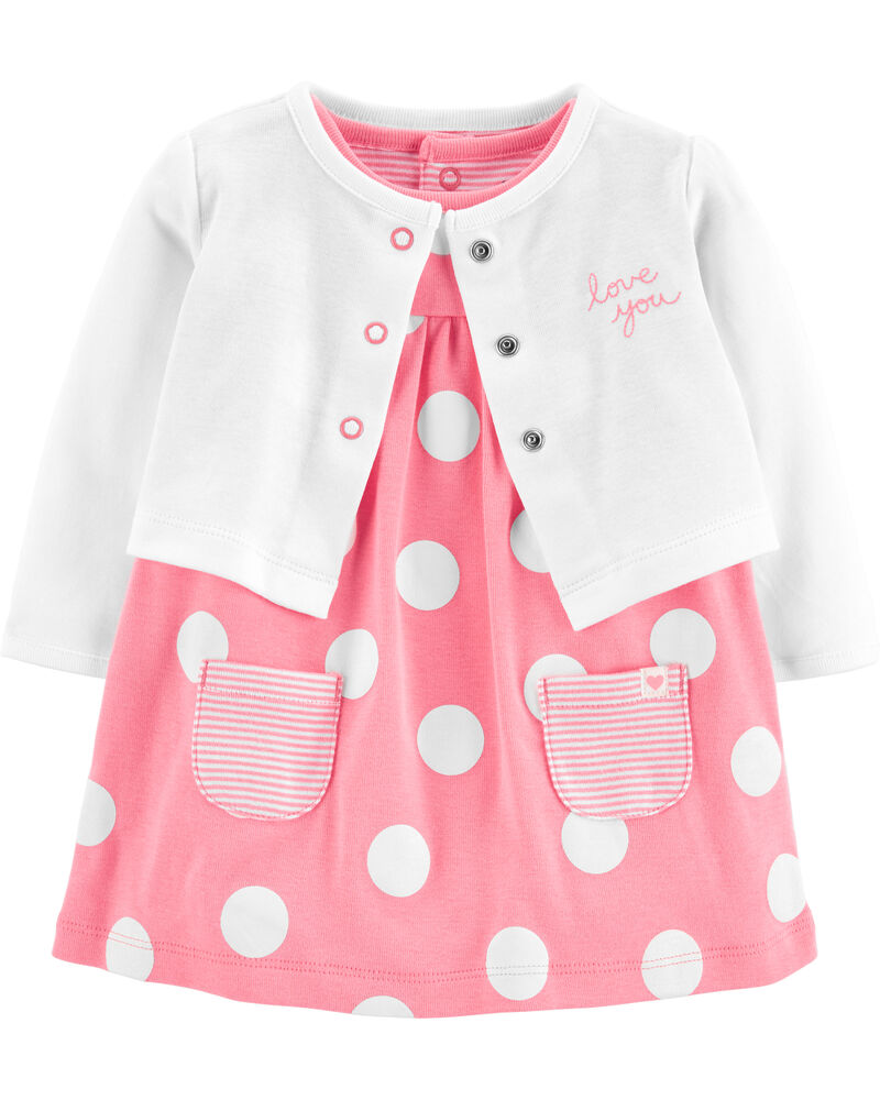 2-Piece Polka Dot Bodysuit Dress & Cardigan Set, , hi-res