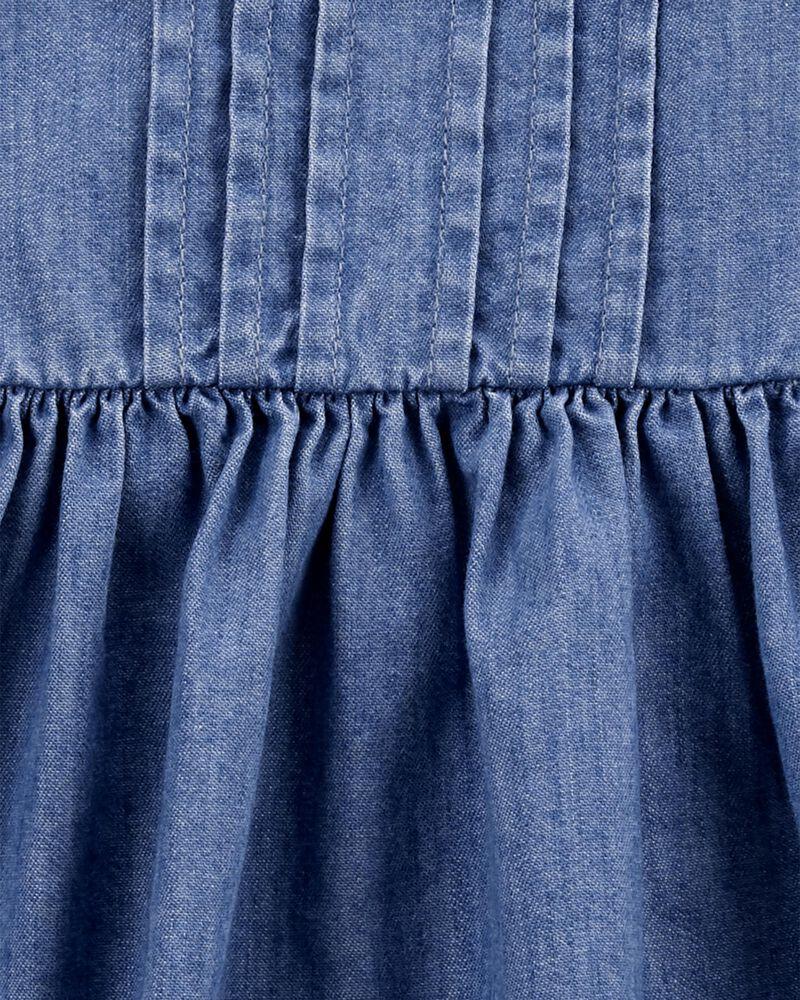 Robe en denim à ourlet plissé et bordure à œillet festonnée, , hi-res