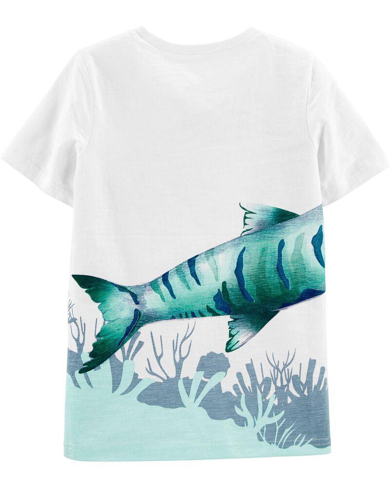 T-shirt en jersey flammé à poisson, , hi-res