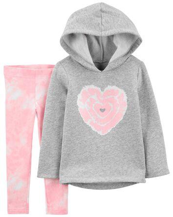 2-Piece Heart Fleece Hooded Top & L...