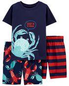 3-Piece Crab Loose Fit Poly PJs, , hi-res