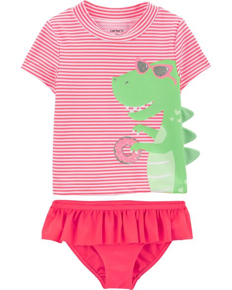 2-Piece Dinosaur UV Swim Shirt Set