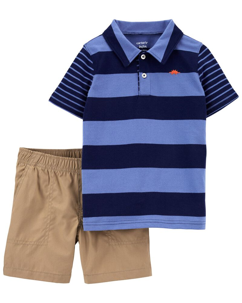 2-Piece Striped Jersey Polo & Short Set, , hi-res