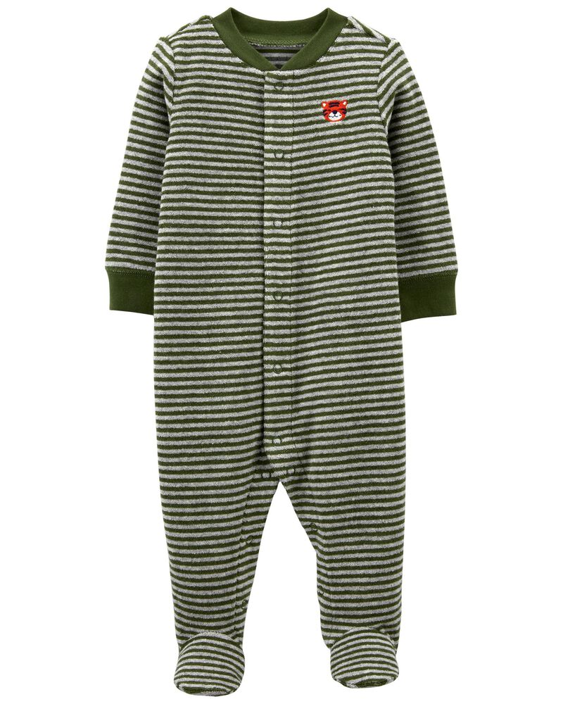 Striped Terry Snap-Up Sleep & Play, , hi-res