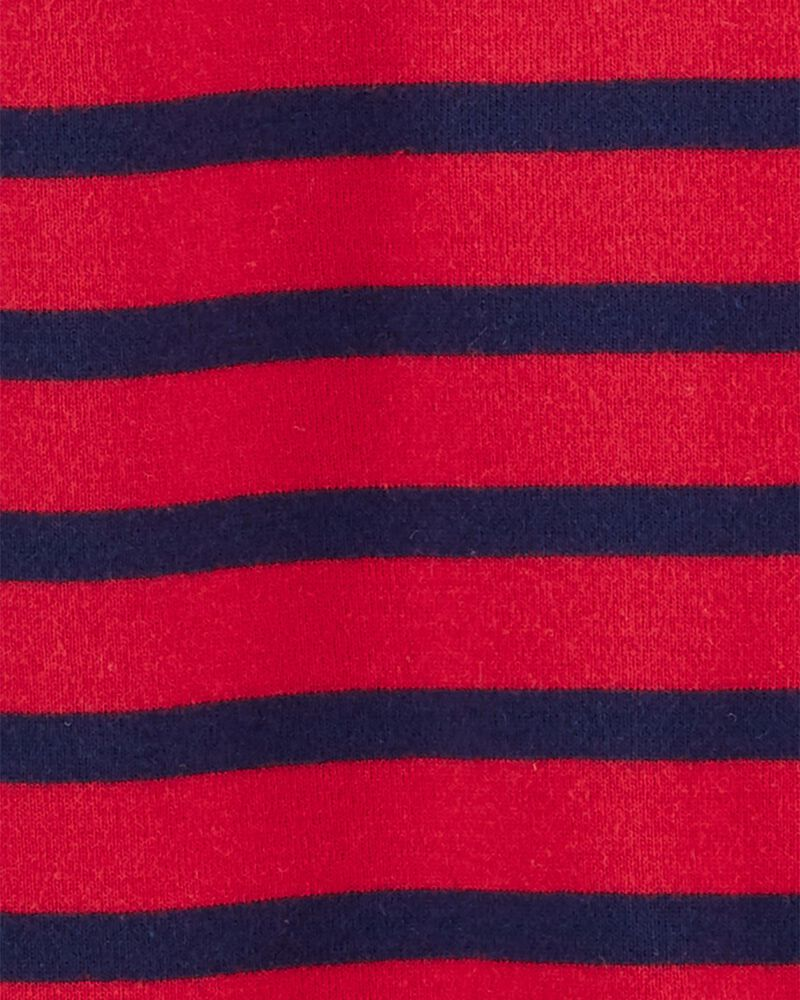 Grenouillère à pieds en coton rayé avec glissière 2 sens, , hi-res